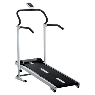 Homcom Portable, Folding, Manual Treadmill for Home with LCD and 3 Incline Levels (Black)