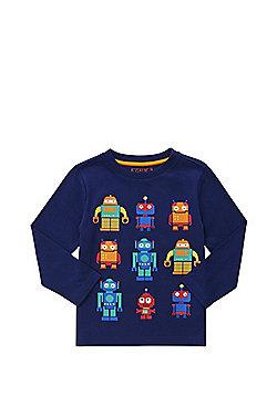 F&F Robot Print Long Sleeve T-Shirt - Navy