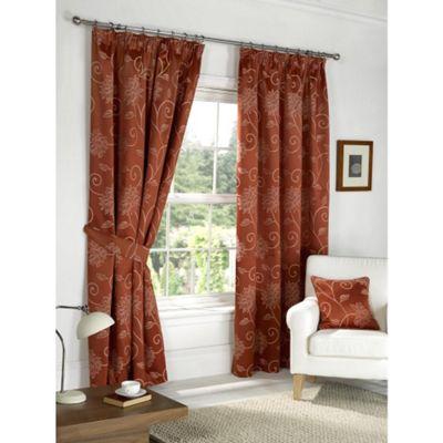Dreams N Drapes Fairmont Terracotta 90x90 Blackout Pencil Pleat Curtains
