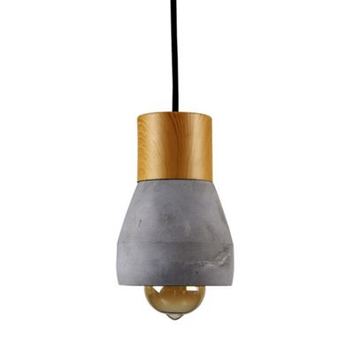 MiniSun Dobbin Wood & Cement LED Electric Ceiling Pendant - Brown