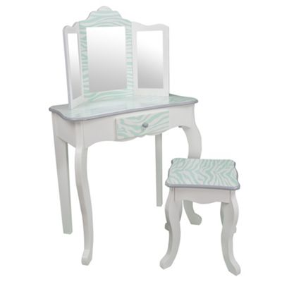 Teamson Kids - Zebra Vanity table & Stool (Blue/White)