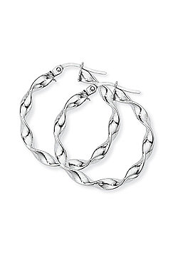 Jewelco London 9ct White Gold - Twisted Hoop Earrings -