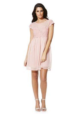 Vila Lace Detail Chiffon Bridesmaid Dress M Pink