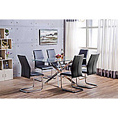 Leonardo Glass And Chrome Metal Dining Table With 6 Black Lorenzo Chairs