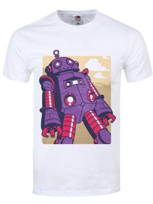 Purple Retro Robot Men's White T-shirt