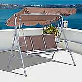 Outsunny Metal Swing Chair Garden Hammock Patio Bench 3 Seater - Brown