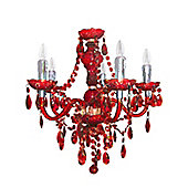 Princess Red Electric Five Light Pendant