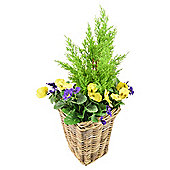 Artificial Purple & Yellow Pansy Planter