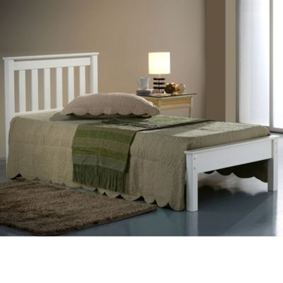 Happy Beds Denver Wood Low Foot End Bed with Orthopaedic Mattress - Ivory - 3ft Single