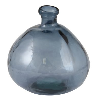 Airforce Blue Recycled Glass Vase Low