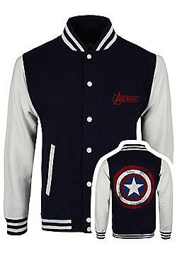 The Avengers Assemble Distressed Shield Navy Men's Varsity Jacket - White