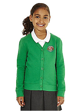 Girls Embroidered Cotton Blend School Sweatshirt Cardigan with As New Technology - Emerald green