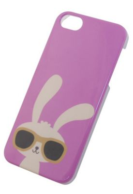 """Tortoiseâ""""¢ Hard Protective Case iPhone 5/5S. Pink with Rabbit design."""