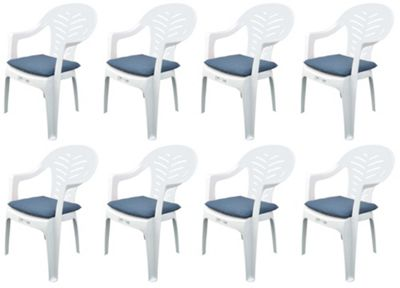 Pack of 8 Garden Chair Cushions - Fits Resol Palma / Cool - Blue