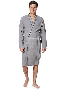F&F Waffle Jersey Dressing Gown - Grey