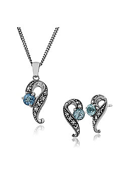 Gemondo 925 Sterling Silver Blue Topaz & Marcasite Art Nouveau Stud Earring & 45cm Necklace Set