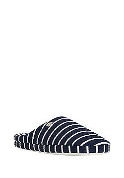 F&F Ribbed Striped Mule Slippers - Navy