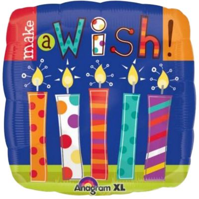 Make A Wish Candles Square Balloon - 18 inch Foil