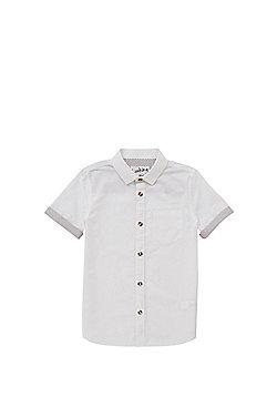F&F Contrast Cuffs Linen-Look Shirt - White