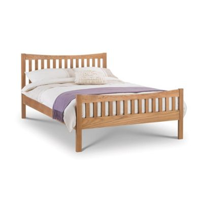 Happy Beds Bergamo Wood High Foot End Bed with Orthopaedic Mattress - Oak - 4ft6 Double