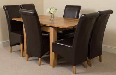 Richmond Solid Oak Extending 90 - 150 cm Dining Table with 6 Brown Montana Leather Dining Chairs