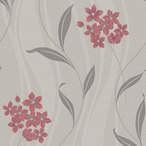 Superfresco Elise Textured Metallic Floral Coral/Grey Wallpaper