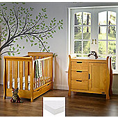Obaby Stamford Mini Cot Bed 2 Piece + Sprung Mattress Nursery Room Set - Country Pine
