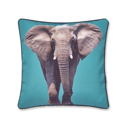Catherine Lansfield Elephant Teal Cushion Cover