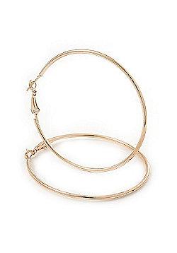 Large Slim Classic Hoop Earrings In Gold Plating - 60mm Diameter