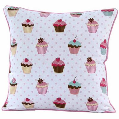 Homescapes Cotton Cup Cakes Cushion Cover, 30 x 30 cm