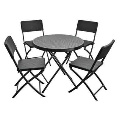 Royalcraft Palermo Folding Table & 4 Folding Chairs Black
