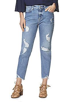 F&F Distressed Chewed Hem Mid Rise Straight Leg Jeans - Light wash