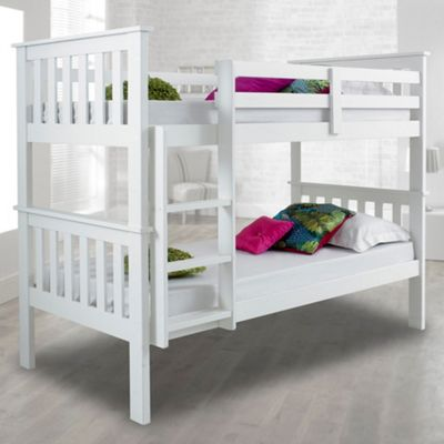 Happy Beds Atlantis Wood Kids Bunk Bed with 2 Memory Foam Mattresses - White - 3ft Single