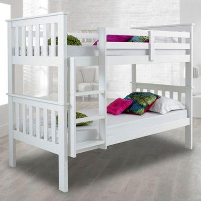 Happy Beds Atlantis White Solid Pine Wooden Bunk Bed 2 Memory Foam Mattresses 3ft Single