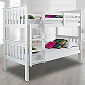 Happy Beds Atlantis White Solid Pine Wooden Bunk Bed 2 Memory Foam Mattresses 3ft Single