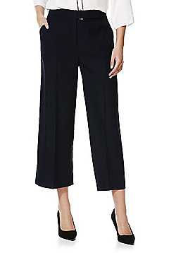 F&F High Rise Cropped Wide Leg Trousers - Navy