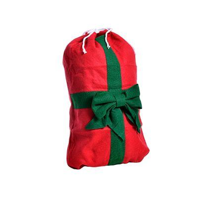 Small Red Drawstring Felt Christmas Sack Gift Bag with Green Bow