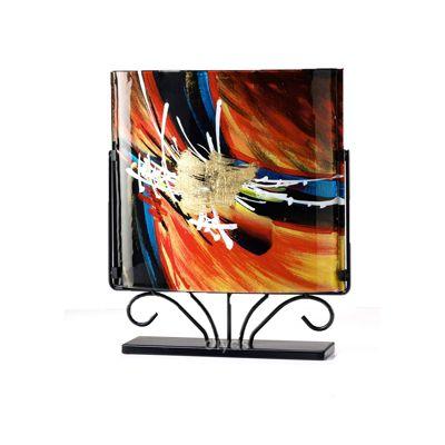 Nexus Glass Art Vase Square Black/Orange/Multi-Colour