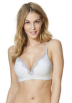 F&F Pretty Everyday Lace Trim Marl Non-Wired Bra - Light grey