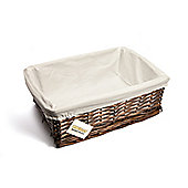 Woodluv Brown Wicker Storage Basket With White Lining - Large
