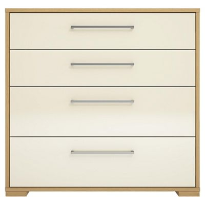 Adria Oak 4 Drawer Chest With Ivory Gloss Drawers