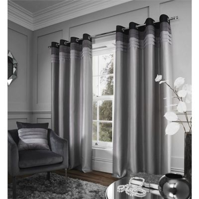 Catherine Lansfield Chicago Grey Eyelet Curtains - 66x72 Inches (168x183cm)