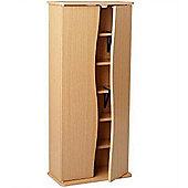 Curve - Wood Effect Cd Dvd 2 Door Storage Cupboard / Cabinet - Oak