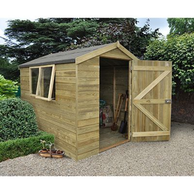 Forest Garden 8x6 Tongue & Groove Pressure Treated Apex Shed Installed