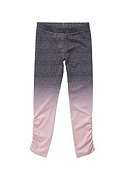 F&F Active Ombre Ruched Leggings - Grey & Pink