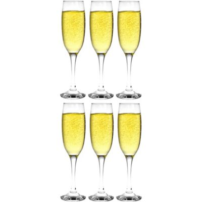 Argon Tableware Champagne Flutes - Gift Box of 6 Glasses - 220ml - 7.7oz