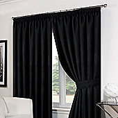 "Dreamscene Pair Basket Weave Pencil Pleat Curtains, Black - 46"" x 54"" (117x137cm)"