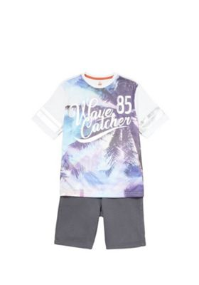 F&F Wave Catcher T-Shirt and Shorts Set Multi 5-6 years