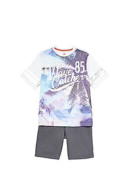 F&F Wave Catcher T-Shirt and Shorts Set - Multi