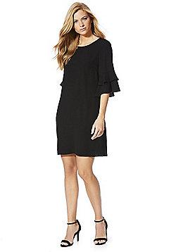 F&F Double Ruffle Sleeve Shift Dress - Black
